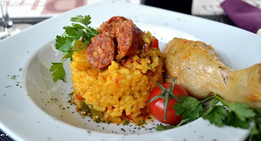 Chicken and rice recipe with chorizo, a traditional and easy Spanish food dish
