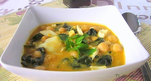 Spanish chickpea stew recipe. Potaje recipe, a garbanzo stew from Spain with cod, spinach and eggs
