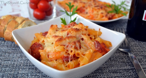 Pasta with tomato sauce and chorizo recipe, an easy Spanish Tapas pasta dish