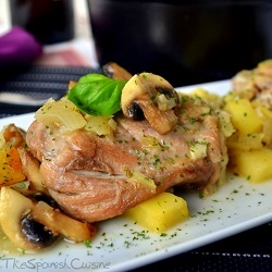 Spanish chicken thighs recipe with mushrooms and potatoes