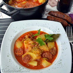 Spanish potato soup recipe with chorizo, an easy Spanish Tapas recipe