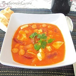 Chorizo and chickpea stew recipe, a typical Spanish food stew with chorizo