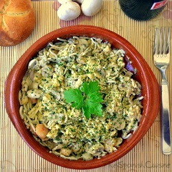 Scrambled eggs recipe with young eels recipe. A classic Tapas recipes of the Spanish cuisine