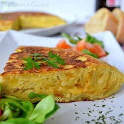 Spanish omelet or Tortilla Espanola, the most popular Tapas recipe of the Spanish cuisine