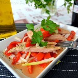 Tuna belly with roasted pepper, a popular Spanish tapas recipe with Ventresca.