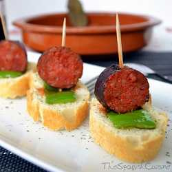 Spanish chorizo with red wine, a famous Tapas recipe