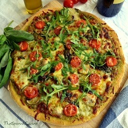 Pesto Pizza Recipe with Fresh Tomatoes, Mozzarella and Mushrooms