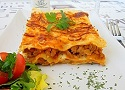 Lasagna with béchamel sauce recipe (white sauce), ground beef and cheese.